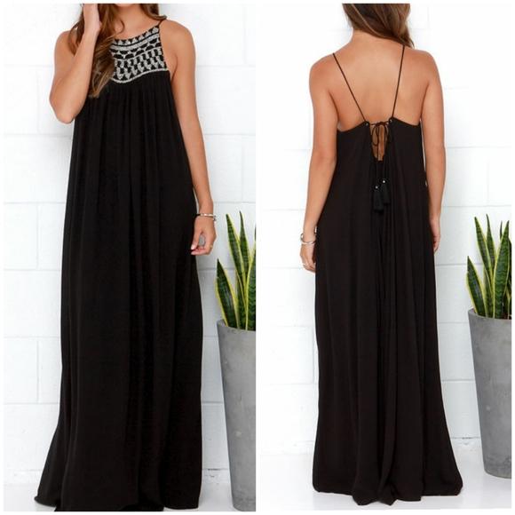 Amuse Society Lotus Black Beaded Maxi Dress XS
